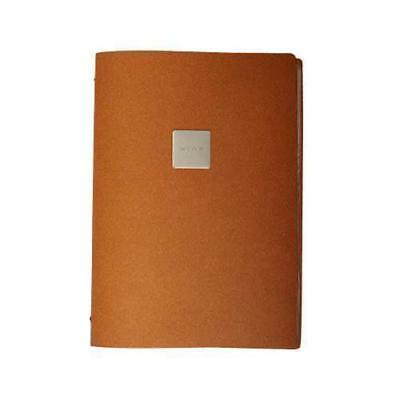 Deluxe Tuscan Leather Menu, Natural, A4 w 2 Pockets 'Wine' Badge, Restaurant