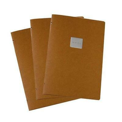 5x Deluxe Tuscan Leather Menu, Natural, A4 w 4 Pockets, 'Menu' Badge Restaurant