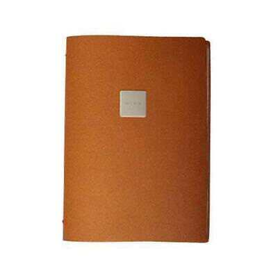 Deluxe Tuscan Leather Menu, Natural, A4 w 4 Pockets, 'Wine' Badge Restaurant