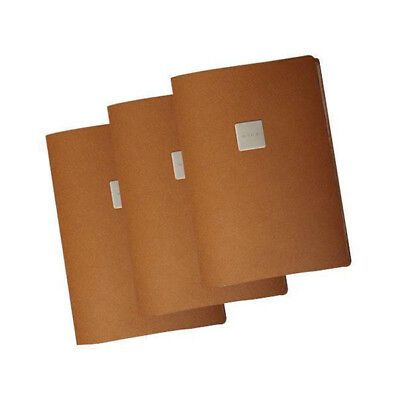 5x Deluxe Tuscan Leather Menu, Natural, A4 w 4 Pockets, 'Wine' Badge Restaurant
