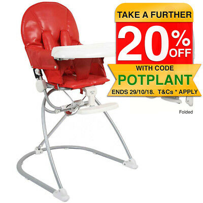 Vee Bee Red Astro Portable Foldable High Chair Toddler/Baby Feeding Tray/Seat