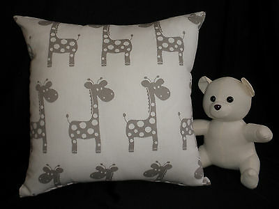 Adorable Cream & Taupe Giraffe Nursery Cushion 40cm  Baby Shower Gift Au Made