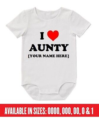 BABY Romper I Love Aunty YOUR NAME Custom Bodysuit Infant Funny Auntie Sister