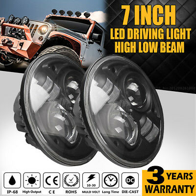 "2PCS 7INCH 60W H4 CREE LED Projector Headlight Hi-Lo Beam For  Land Rover 6""/9"""