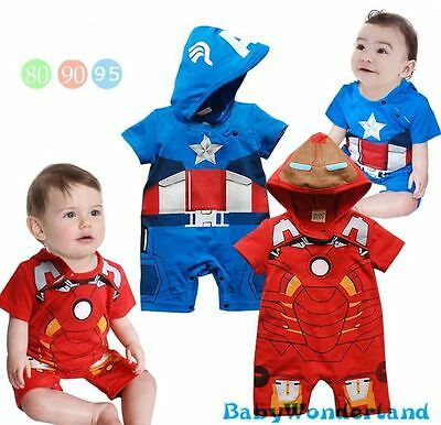 New Baby Boys Iron Man Capital America One Piece Jumpsuit Romper Size 0,1,2