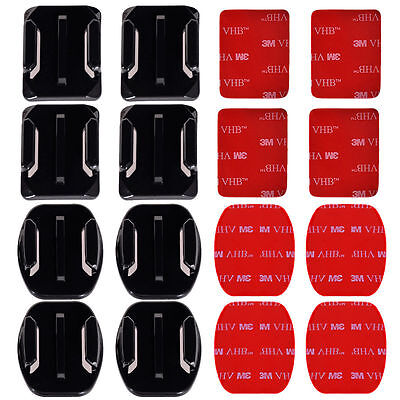 8x Flat & Curved Helmet Mounts 3M Adhesive Pads for GoPro Hero 1/2/3/3+/4 Camera