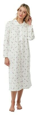Traditional Wyncette 100% Brushed Cotton Long Sleeved Floral Nightdress 8-26