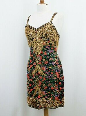Jasdee Vintage Dress Hand Work Bead & Sequins & Hand Print On Silk Style 5057M