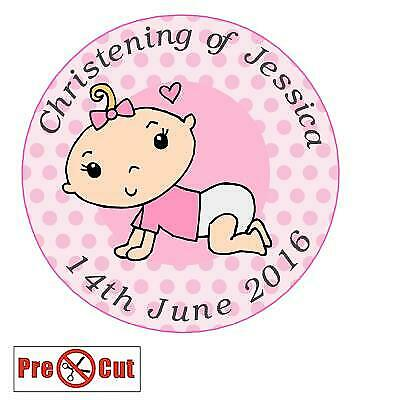 35 Pink Girl Personalised Christening Cupcake Cake Toppers Edible Pre Cut
