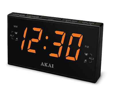 "AKAI AM/FM PLL Digital Tuning DUAL ALARM CLOCK Radio LARGE 1.8""Amber LED Display"