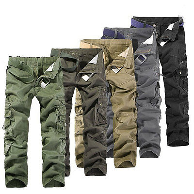 Fashion 2016 Men Military Cargo Combat Work Pants Casual Camo Army Trousers