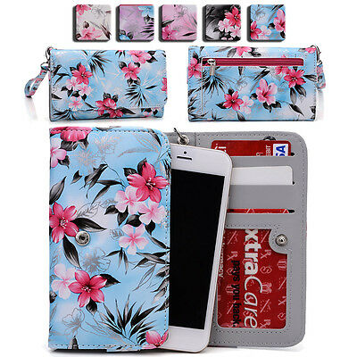 Womens Flower Pattern Wallet Case Cover for Smart Cell Phones by KroO ESMLF-23