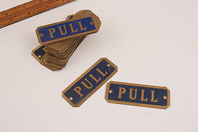 Brass w/Blue Paint Pull Door Sign Drilled Vintage Grocery Story Hardware PAIR