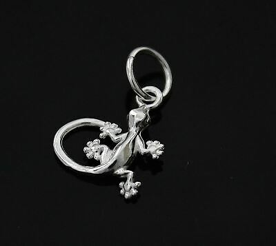 GENUINE 925 STERLING SILVER GECKO LIZARD CHARM PENDANT FOR CHARMS BRACELET A16C