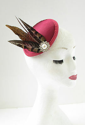 Claret Red Brown Pheasant Feather Fascinator Silver White Races Vtg Burgundy 7AX