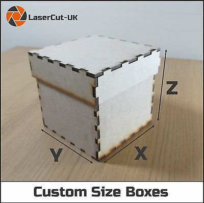 Custom Size Laser Cut MDF Wooden Build Your Own Craft Box