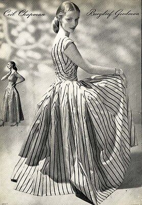 CEIL CHAPMAN Fashion Designer Page Ad 1947 - Striped Dress BERGDORF GOODMAN