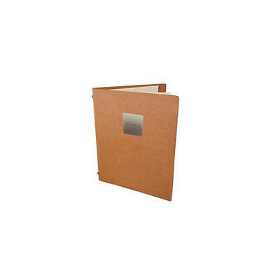 Deluxe Tuscan Leather Menu, Natural A5 w 4 Pockets, 'Menu' Badge, Restaurant