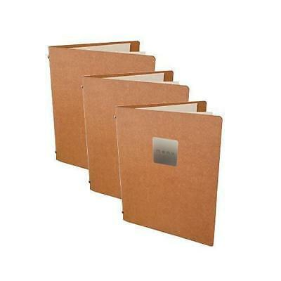 5x Deluxe Tuscan Leather Menu, Natural A5 w 4 Pockets, 'Menu' Badge, Restaurant
