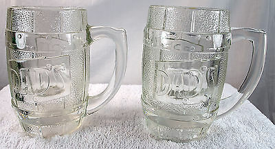 Set of 2 Dads Root Beer Barrel Mugs Heavy 5 1/4 inches Tall Clear Glass