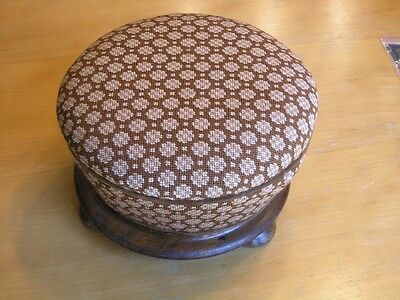 Early Antique Round Exotic Wood Base Needlepoint Upholstery Hand Made Stool 2nd