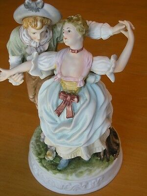 Hand Painted Dresden Style Bisque Porcelain Figurine Young Couple Dancing 25 cm