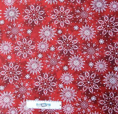 Patchwork Quilting Fabric XMAS SNOWFLAKE RED Sewing Material Cotton FQ 50X55cm