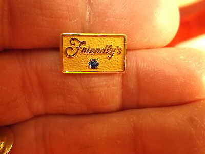"""Very Nice Vtg? Yellow Gold Filled """"friendly's"""" Service Award Pin, Blue Spinel"""