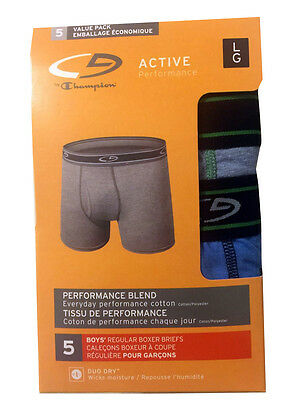 "C9 by Champion BOYS  boxer briefs 5-Pack ""ACTIVE Performance"" DUO DRY  NEW"