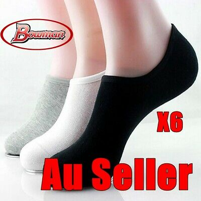 6x Women Lady Bamboo Non-slip Heel Grip Low Cut No Show Boat Socks Invisible