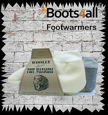 Woolly Aussie Foot Warmers Men's Sheepskin Slippers Travel Ski Bed Socks