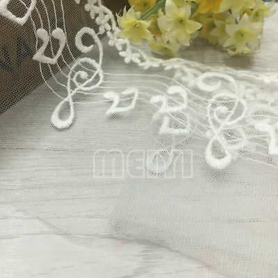 1 yd Vintage Embroidered Lace Edge Trim Ribbon Applique DIY Crochet Sewing Craft