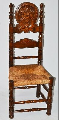 Arts and Crafts Gothic Beech Rush Seat Chair with Carved Headrest [PL-2238]