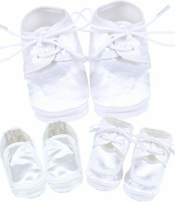 BabyPrem Boys White Christening Shoes Booties Weddings Parties 0 - 3 m