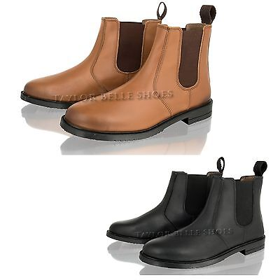 New Mens Real Leather Chelsea Dealer Slip On Casual Smart Work Ankle Boots Shoes