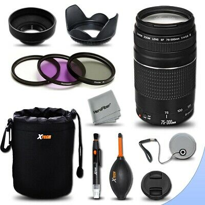 Canon EF 75-300mm f/4-5.6 III Telephoto Lens + Essential Kit for Canon EOS T5i