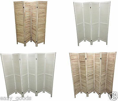 Wooden Slat Room Divider Home Privacy Screen Partition Natural White 4/6 Panel