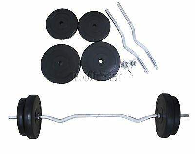 FoxHunter 4FT Curl Bar Barbell Set Weight Lifting Gym Triceps Arm Training 30KG