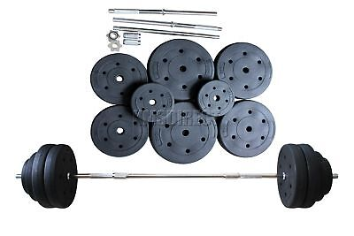 FoxHunter Curl Bar Barbell Set Weight Lifting Gym Triceps Arm Home Training 60KG