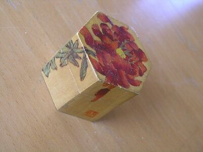 Antique Chinese Wooden Hexagonal Fine Box Pyrography Hand Made & Painted Signed