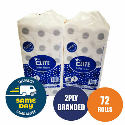 72 Toilet Rolls 2 Ply 200 Sheet 2Ply Tissue Luxury Quilted Paper 2 Cases Jumbo