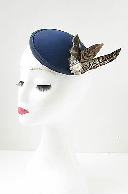 Navy Blue Brown Pheasant Feather Fascinator Silver White Races Vtg Hair Clip 8AG