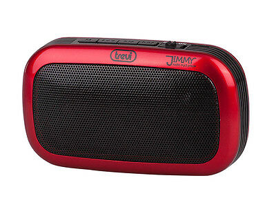 FM radio • Micro-SD and USB MP3 playback • Mini Subwoofer • Rechargeable • Red