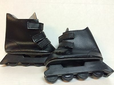 2 pair black roller blades skates for 18 inch dolls or toy bears