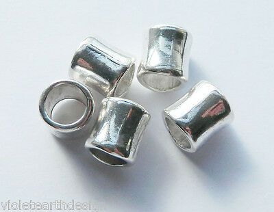 5 Large Hole Antique Silver Tibetan Tube Beads 12x11mm Hole 8mm Metal