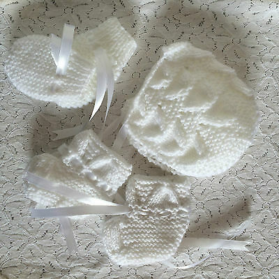 Baby Fan Bonnet Set - Rosebud - Mittens Bootees - Various Colours