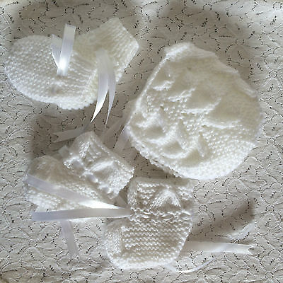 Baby Knitted Fan Bonnet Set  - Mittens Bootees - Various Colours - Hand Knit