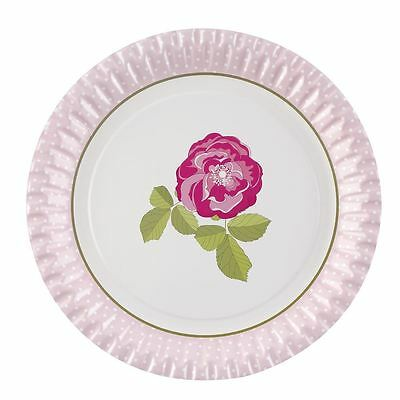 Vintage Rose Shabby Chic Afternoon Tea Paper Party Plates, Pack of 8