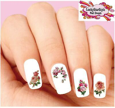 Waterslide Rose Nail Decals Set of 20 - Arched Victorian Dusty Pink Roses