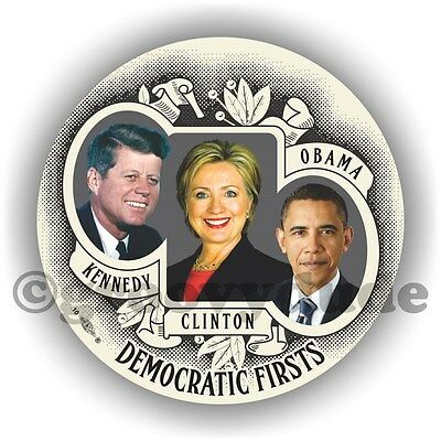"Democratic Firsts Kennedy Clinton Obama President Campaign 3"" Pin Pinback Button"